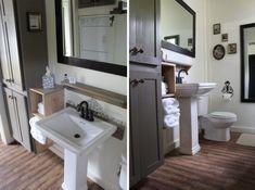 Shelf storage idea for basement bath tiny house bathroom, tiny bathroom Tiny Bathrooms, Tiny House Bathroom, Bathroom Design Small, Washroom, Tiny House Swoon, Tiny House Living, Tiny House Plans, Tiny House Exterior, Diy Bathroom Decor