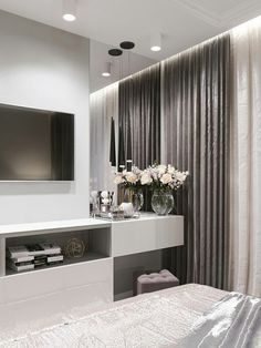 The Best 2019 Interior Design Trends - Interior Design Ideas Luxury Bedroom Design, Master Bedroom Interior, Home Room Design, Home Bedroom, Living Room Designs, Bedroom Tv Stand, Modern Bedroom Decor, Bedroom Storage, Bedroom Inspo