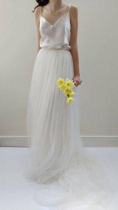 Hochzeitskleid/Brautkleid trennt - Seide Tüll Wedding Gown Skirt