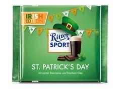 Ach du grüne Neune, eine RITTER SPORT Fake-Sorte zum St. Patrick's Day! ☘ Die Irish Edition: Schokolade mit zarter Biercreme und frischem Klee