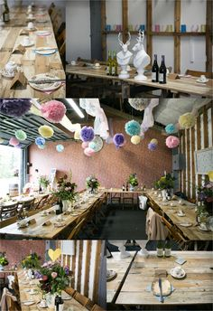 quirky rusitic farm wedding, pastel colour pom poms and trestle tables. Documentary wedding photography in Bury St Edmunds Suffolk