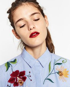 Image 5 of EMBROIDERED POPLIN SHIRT from Zara