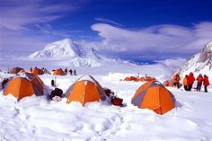 Camping at 14,200' on Mt. McKinley (Denali, Alaska). This looks chilly. There would need to be some serious snuggling