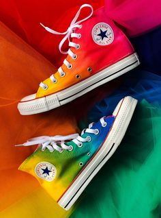 Rainbow Tie Dye Custom Converse High Tops from Intellexual Design. Saved to Custom Converse Toms and Vans. Custom Converse Shoes, Cool Converse, Outfits With Converse, Converse Sneakers, Pumas Shoes, Converse All Star, Converse Chuck Taylor, Converse Shoes High Top, Sneakers Women