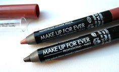 "Make Up For Ever. Aqua Eyes #0L ""Matte Black"" Waterproof Eyeliner Pencil & Aqua Lip #3C ""Medium Neutral Beige"" Waterproof Lipner Pencil."