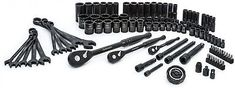 105 Piece Industrial Black SAE Metric Socket Wrench Mechanics Hand Tool Set