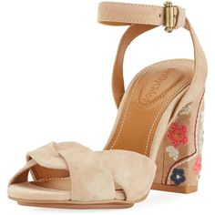 See By Chloe Embroidered Block-Heel Suede Sandal (560 BAM) ❤ liked on Polyvore featuring shoes, sandals, light brown, shoes sandals, ankle strap sandals, ankle tie sandals, ankle wrap shoes, d orsay sandals and ankle wrap sandals
