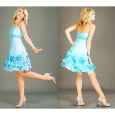 Light Blue Beading Satin Strapless Prom Homecoming Dress