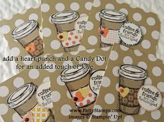 www.PattyStamps.com - tip for Perfect Blend stamp set - stamp cup, lids and wraps on scraps, cut out and assemble like paper dolls