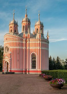 Chesme Church in Saint Petersburg, Russia. Built in the 18th century, this pink and white Gothic Revival style church is in the shape of a wedding cake. Designed by Yury Felton, who was Catherine the Great's court architect. (Photo by Fede Falces)