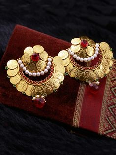 Earrings with Antique Mahalakshmi Kasu Design