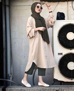 ahsen hijab outfit, street hijab fashion ve h Hijab Casual, Hijab Chic, Hijab Fashion Casual, Stylish Hijab, Casual Chic, Street Hijab Fashion, Muslim Fashion, Mode Outfits, Fashion Outfits