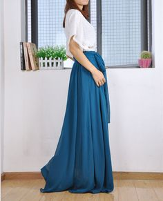 High Waist Maxi Skirt Chiffon Silk Skirts by Dressbeautiful
