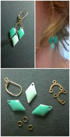 """I made these pretty """"Mint"""" earrings for my best friend's 25 springs. – 2 earring attachments – 4 """"bridge"""" connectors with three openings … Wire Jewelry, Jewelry Crafts, Beaded Jewelry, Jewelery, Mint Earrings, Bead Earrings, Diy Schmuck, Schmuck Design, Jewelry Accessories"""