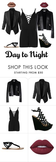 """""""One Romper, Two Looks"""" by xxmonnyxx on Polyvore featuring Versace, LE3NO, Topshop, Sole Society and Lime Crime"""