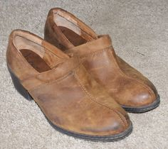 b.o.c Born Concept brown suede leather heels clog shoes womens size 10/42 M/W #bocBornConcept #Clogs #Casual