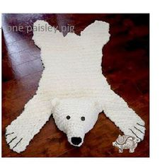 Polar Bear Skein Rug with Stuffed or Flat Head by OnePaisleyPig