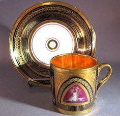 DARTE FRERES, PARIS FRENCH PORCELAIN CUP & SAUCER c. 1810