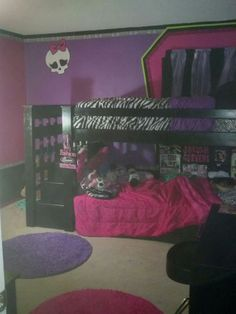 DIY Girls Bedroom Redo / handpainted Monster High Skull and outlined windows in the shape of coffins like the Monster High Lockers. The border is done with Zebra print DUCT TAPE!!!
