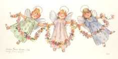 Three Little Angels 7 x 14 lithograph | CShoresInc - Print on ArtFire