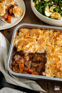 Epic Steak and Vegetable Pie with a delicious golden filo pastry topping - tender pieces of beef with carrots and onion in a deliciously rich homemade gravy. #slimmingworld #weightwatchers #dairyfree #pie #steak #filopastry #beef