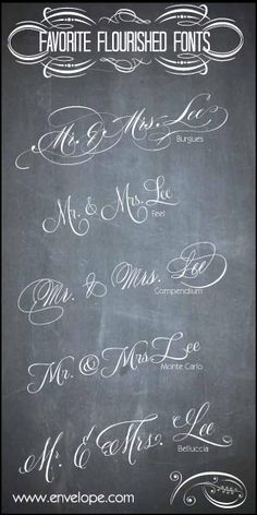 A few of our favorite wedding invitation fonts - calligraphy style - www.envelopme.com