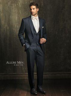 the Slate Blue 'Allure' Tuxedo by Allure Men. Men's Tuxedo Wedding, Wedding Suits, Wedding Tuxedos, Wedding Attire, Tuxedo Suit, Tuxedo For Men, Trendy Mens Fashion, Fashion Suits, Blue Tuxedos