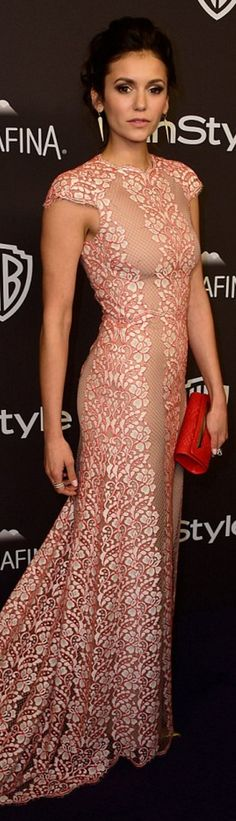 Who made Nina Dobrev's jewelry, pink lace gown, shoes, and red clutch handbag?