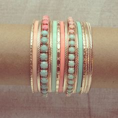 http://www.preebrulee.com/collections/bracelets/products/mint-peach-bangle-set
