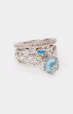 White Gold & Blue Cubic Zirconia Stackable Ring Set
