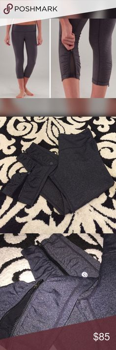Lululemon capris These look brand new!! Rare style with the zipper with mesh. Super cute!! lululemon athletica Pants Capris