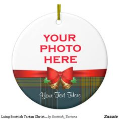 Laing Scottish Tartan Christmas Photo Double-Sided Ceramic Round Christmas Ornament
