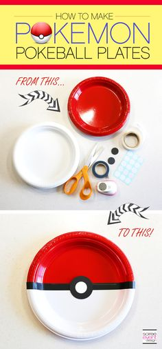 | Pokemon Party Ideas – Dining Table   DIY Pokemon Pokeball Plates | http://soiree-eventdesign.com