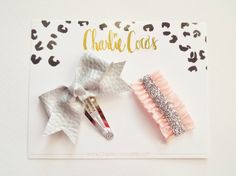 Baby/Girls Leather Bow Hair Clip Set Silver by CharlieCocos