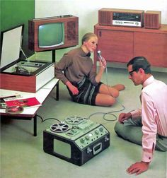 Technology in the 60's was never like it is now. People had very large, complicated and confusing television sets and recording devices as shown in this picture.