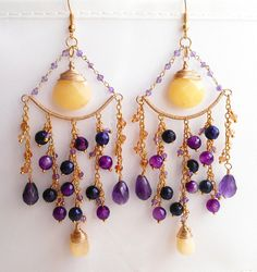 Orchidee earrings gemstone chandelier earrings cluster