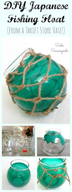 Vintage Japanese fishing floats are gorgeous...hard to find...and expensive! Why not recreate the same look for super cheap by repurposing a round, glass bowl or vase from the thrift store? Some glass paint and DIY fishing net and you're set! Perfect for coastal, summer beach decor...and a fun and easy upcycle craft project anyone can do. #SadieSeasongoods / www.sadieseasongoods.com