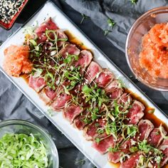 Beef tataki (Japanese Style Beef Carpaccio) is one of those dishes you use as a starter to impress your boss. It looks gorgeous and tastes amazing. This dish has the appearance of being complicated and difficult – while being neither! Meat Recipes, Asian Recipes, Cooking Recipes, Healthy Recipes, Ethnic Recipes, Beef Tataki, Tuna Tataki, Asia Food, Appetisers