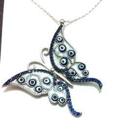 925 Sterling Silver Turkish Nazar Blue Butterfly NECKLACE Evil eye Greek Mati