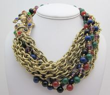 Vintage Torsade Gold Chain Jeweled Panther Necklace