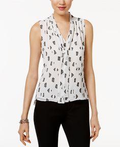 Tommy Hilfiger Printed Tie-Neck Top - Tops - Women - Macy's