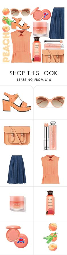 """Peaches"" by lullulu ❤ liked on Polyvore featuring Cotélac, Linda Farrow, The Cambridge Satchel Company, Christian Dior, Leur Logette, Marni, Innisfree and Etude House"