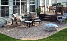 I like this patio & deck area - it's just right for the house. Landscaping Around Deck, Backyard Landscaping, Small Backyard Decks, Outdoor Deck Decorating, Backyard Patio Designs, Patio Ideas, Backyard Makeover, Concrete Patio, Land Scape