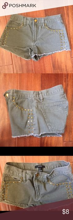 """Olive Shorts In great condition. Size 24, inseam 2"""". Gold studs. PRICE IS FIRM ty Forever 21 Shorts Jean Shorts"""
