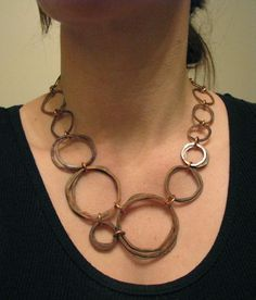 Copper necklace - Oxidized Copper - Stacked Bundles - Handmade in my studio - copper jewelry on Etsy, $60.00
