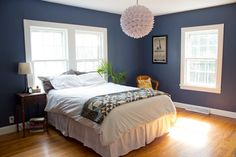 Benjamin Moore- Van Deusen Blue. Master bedroom? With coral color curtains.