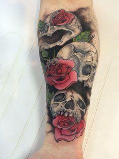 See no evil, hear no evil, speak no evil rose and skull tattoo by Travis Allen @ www.twistedtattoo.co.uk