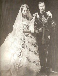 1863 Alexandra and Edward black and white wedding photo | Grand Ladies | gogm