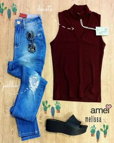 vivendo como se quer  #lojaamei #jeans #noidades #gola #decote #melissa #donnajelly #tamanco