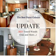 The best paint colours and ideas to update red or cherry toned oak, wood, cabinets, flooring. Kylie M INteriors E-decor and E-design